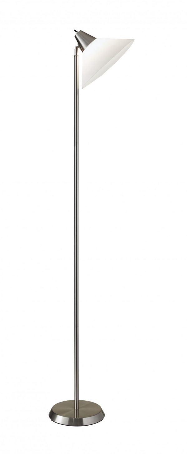 """12"""" X 10"""" X 71.5"""" Brushed Steel Metal Torchiere"""