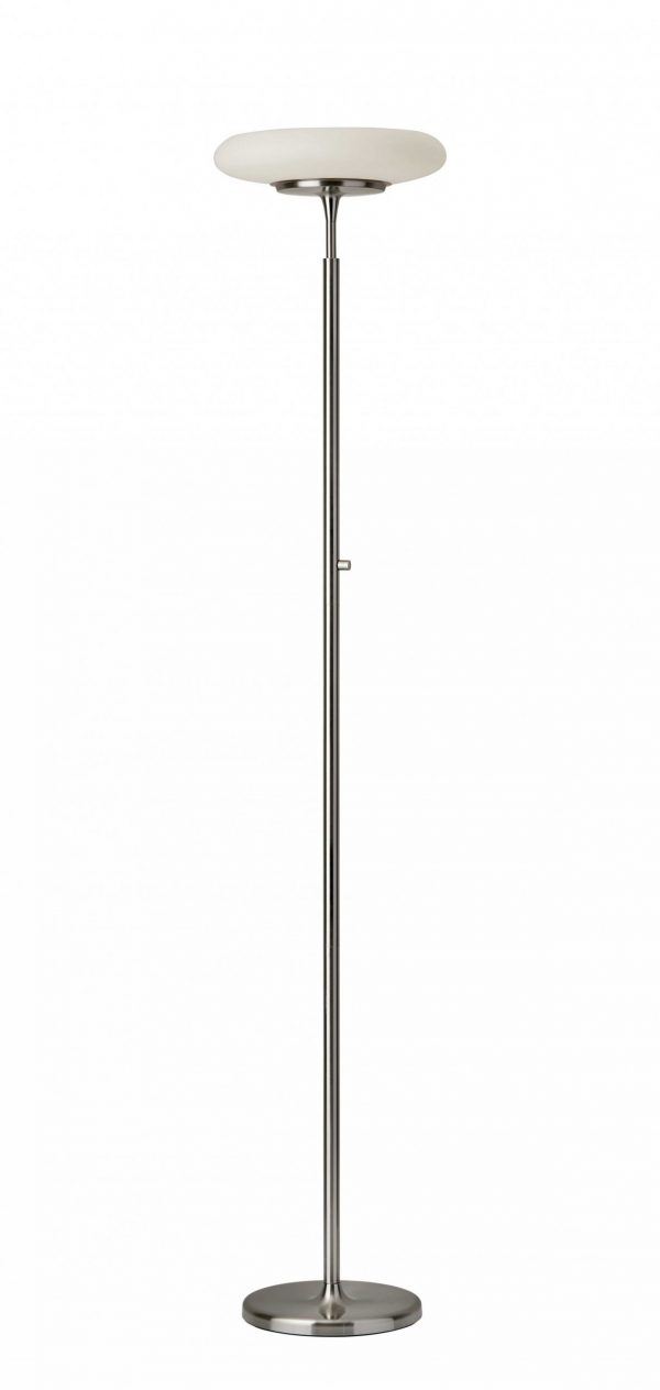 """14"""" X 14"""" X 72"""" Brushed steel Metal LED Torchiere"""