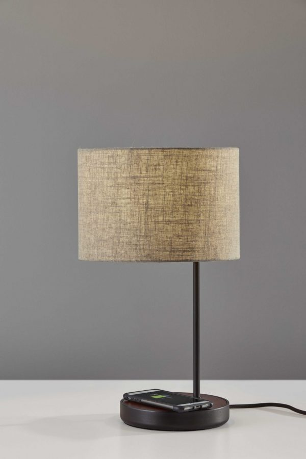 "11"" X 11.5"" X 19.5"" Brushed Steel Metal/Wood Wireless Charging Table Lamp"