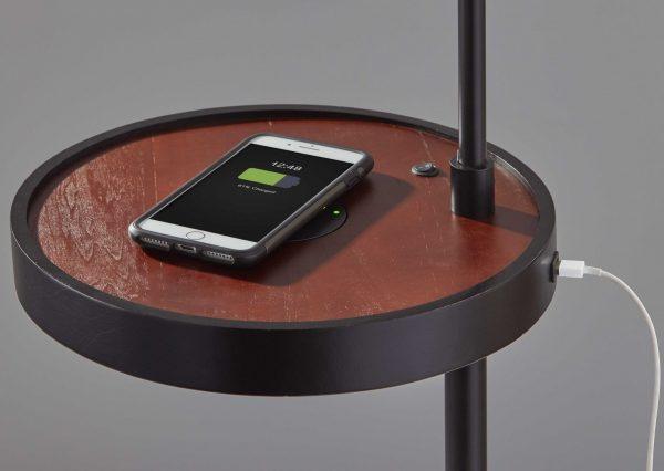 "12.5"" X 16"" X 59"" Brushed Steel Metal Wireless Charging Task Shelf Floor Lamp"