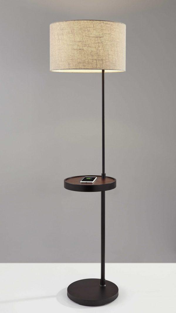 "17"" X 17"" X 63.5"" Black Metal/Wood Wireless Charging Shelf Floor Lamp"