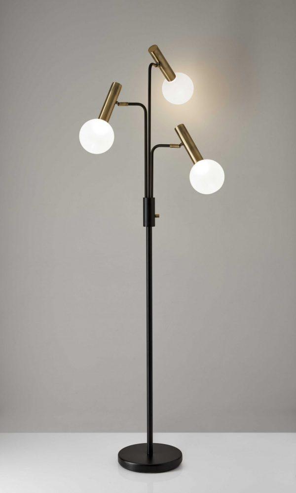 "27"" X 20""  X 70"" Black Metal LED 3-Arm Floor Lamp"