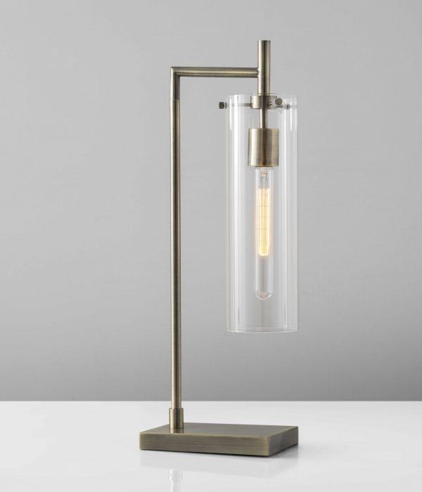 """8"""" X 8"""" X 24"""" Brass Metal Table Lamp"""