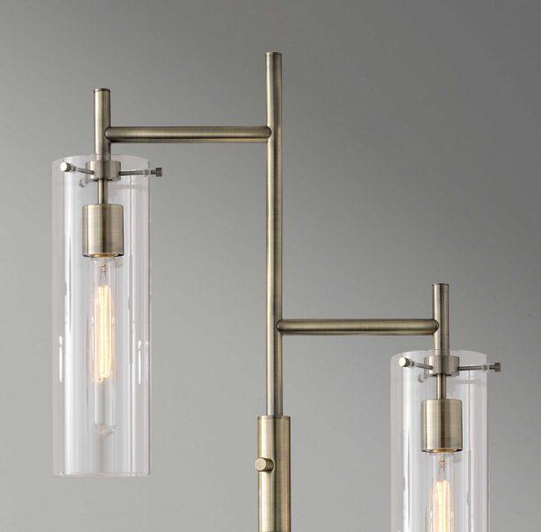"""19"""" X 10"""" X 64.25"""" Brass Metal Floor Lamp"""