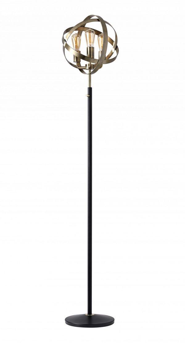 """13.5"""" X 11.5"""" X 70.5"""" Brass Metal Floor Lamp"""