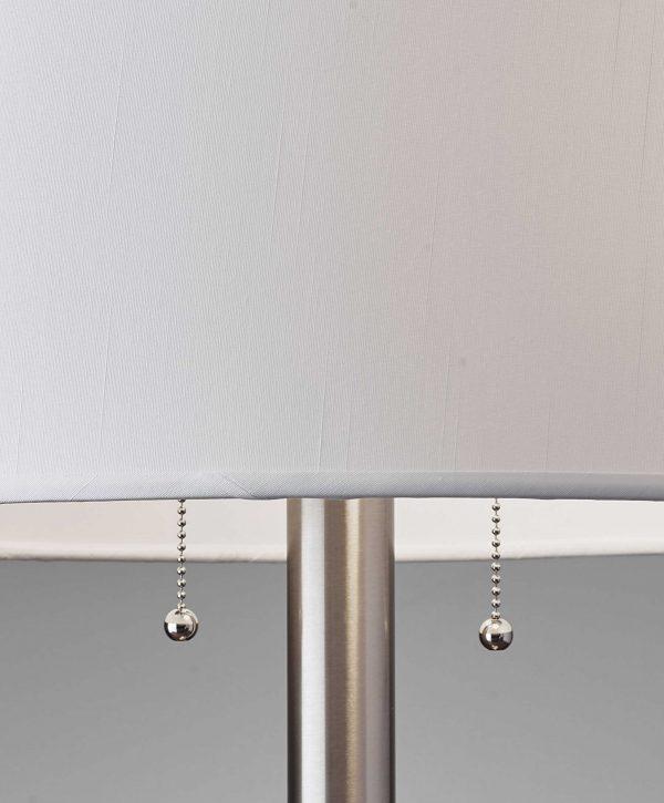 "17"" X 17"" X 28"" Brushed Steel Metal Table Lamp"