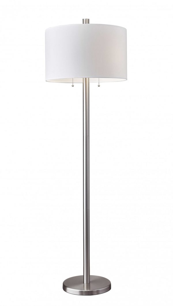 "18.5"" X 18.5"" X 61"" Brushed Steel Metal Floor Lamp"