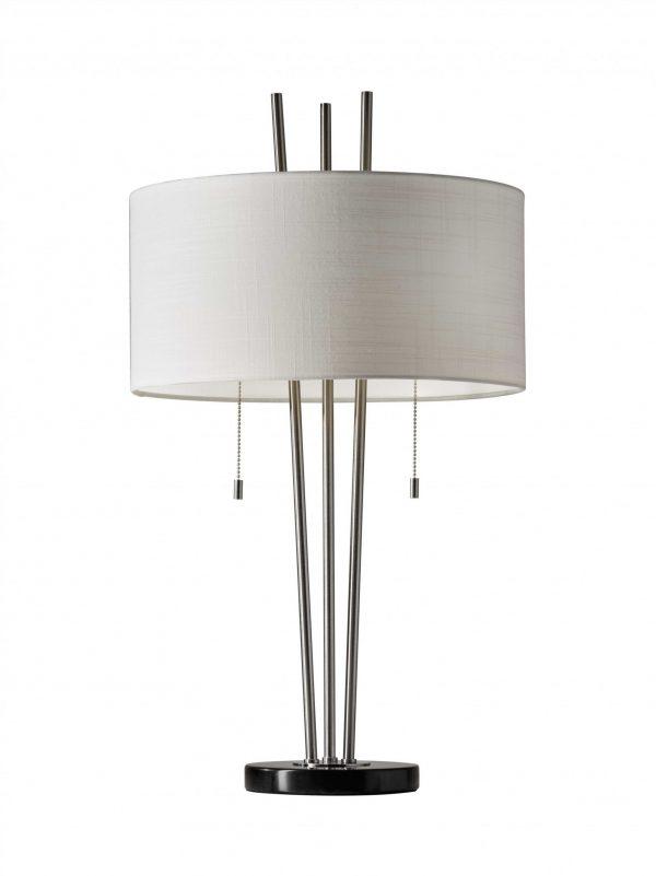"16"" X 16"" X 28"" Brushed Steel Metal Table Lamp"