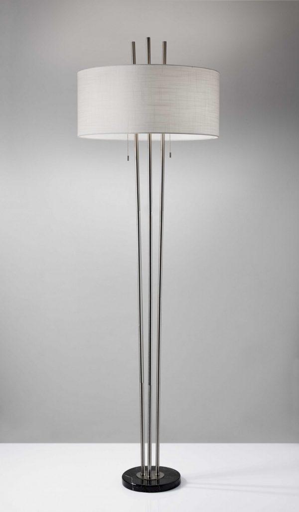 "22"" X 22"" X 71"" Brushed Steel Metal Floor Lamp"