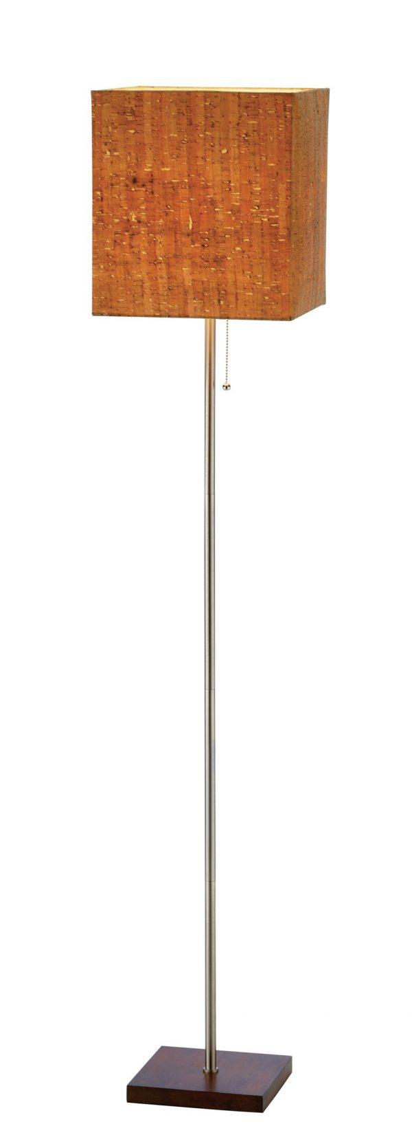 "11"" X 11"" X 56"" Walnut Wood/Metal Floor Lamp"