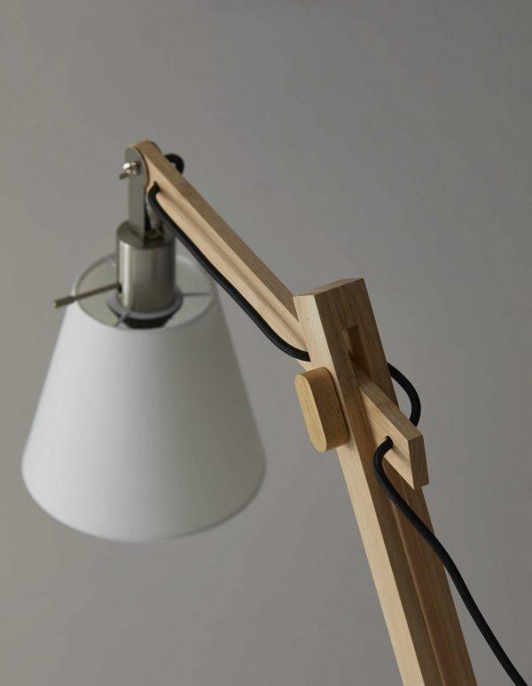 "5.25"" X 14-21"" X 19""-25"" Natural Wood Table Lamp"
