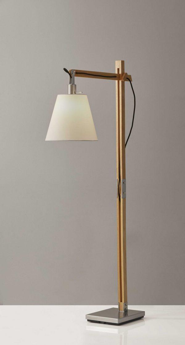 """8"""" X 24-30"""" X 53""""-61"""" Natural Wood Floor Lamp"""