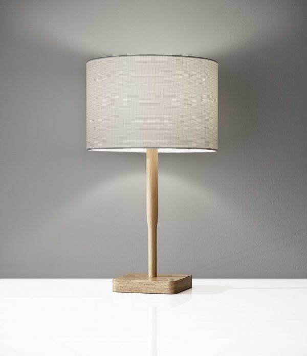 "8"" X 8"" X 21"" Natural Wood Table Lamp"