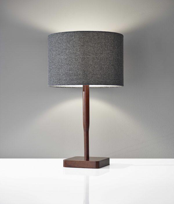 """8"""" X 8"""" X 21"""" Walnut Wood Table Lamp"""