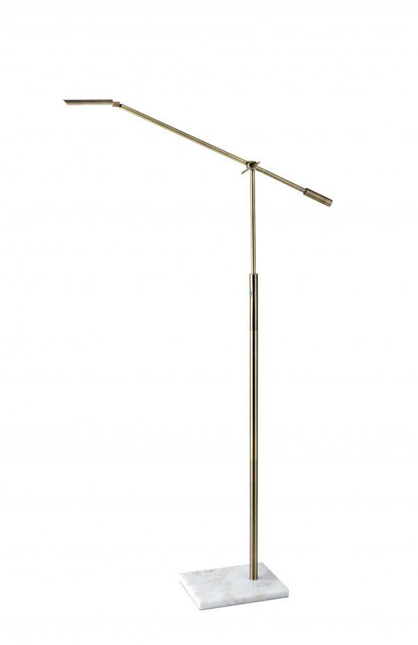 "8"" X 30""  X 46.5"" - 61"" Brass Metal LED Floor Lamp"