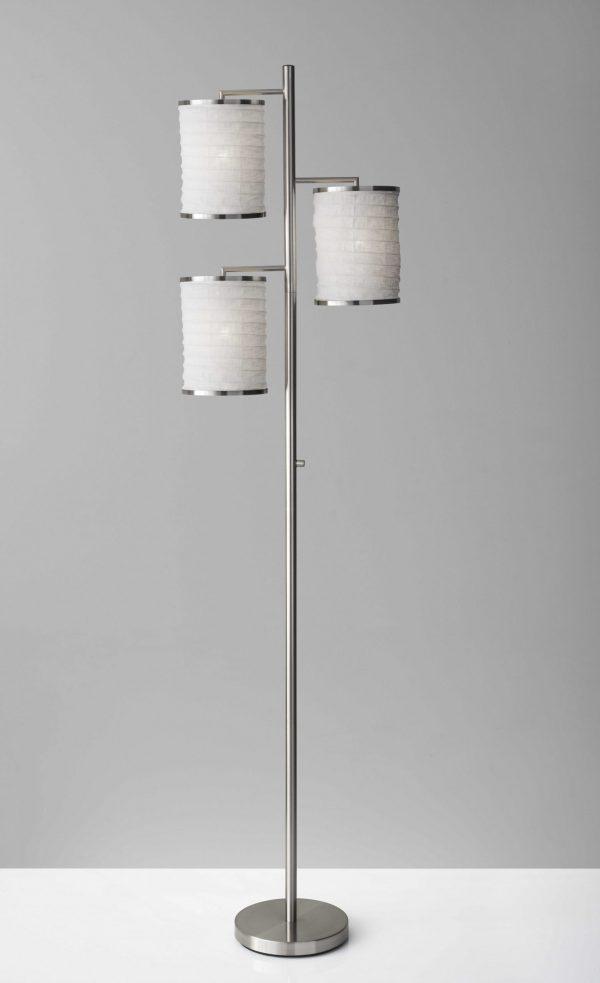 "17.5"" X 10"" X 74"" Brushed steel Metal Tree Lamp"