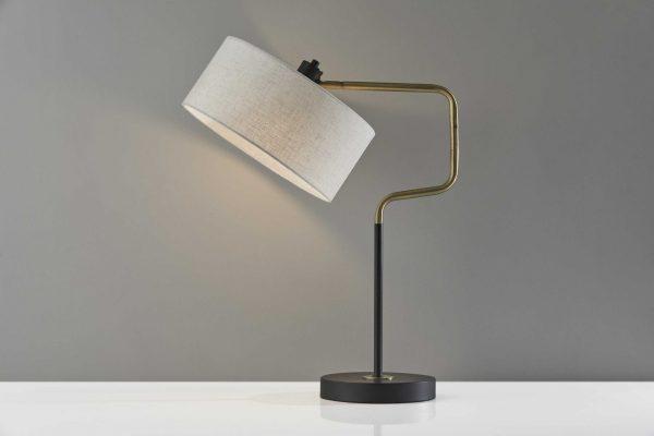 "13"" X 18-29"" X 24""-25.5"" Black Metal Table Lamp"