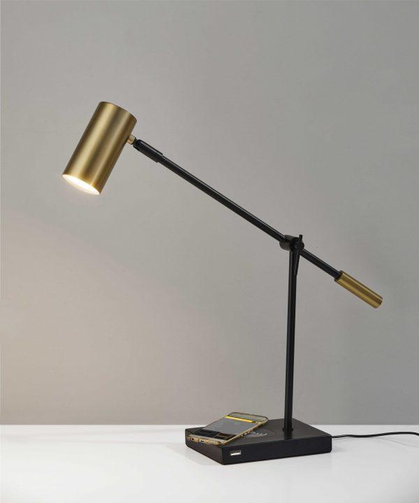 """5"""" X 22.5""""  X 12.25-22.25"""" Black Metal LED Desk Lamp"""