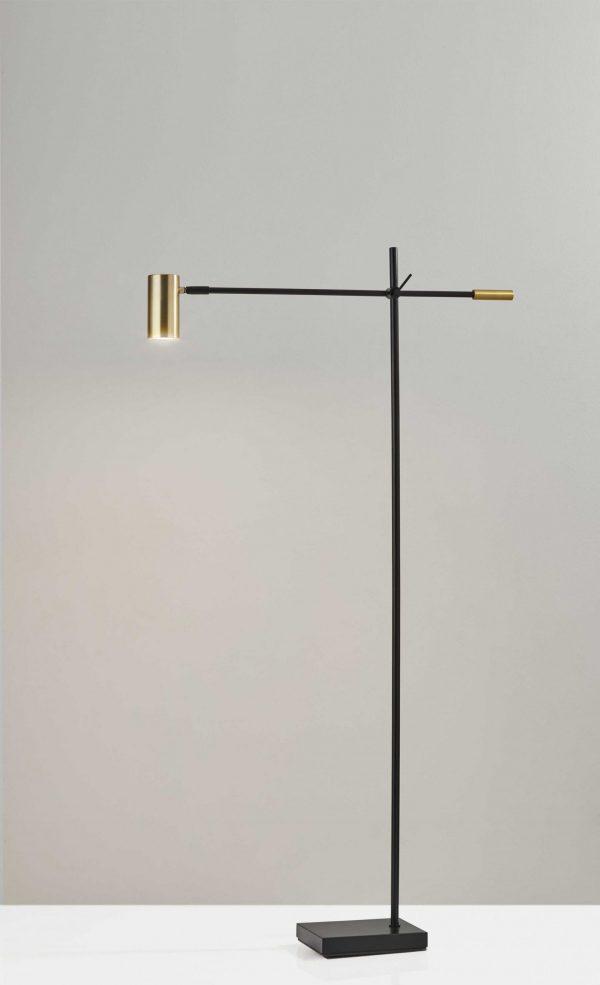 "6.5"" X 22.5-30.5"" X 58"" - 63"" Black Metal LED Floor Lamp"
