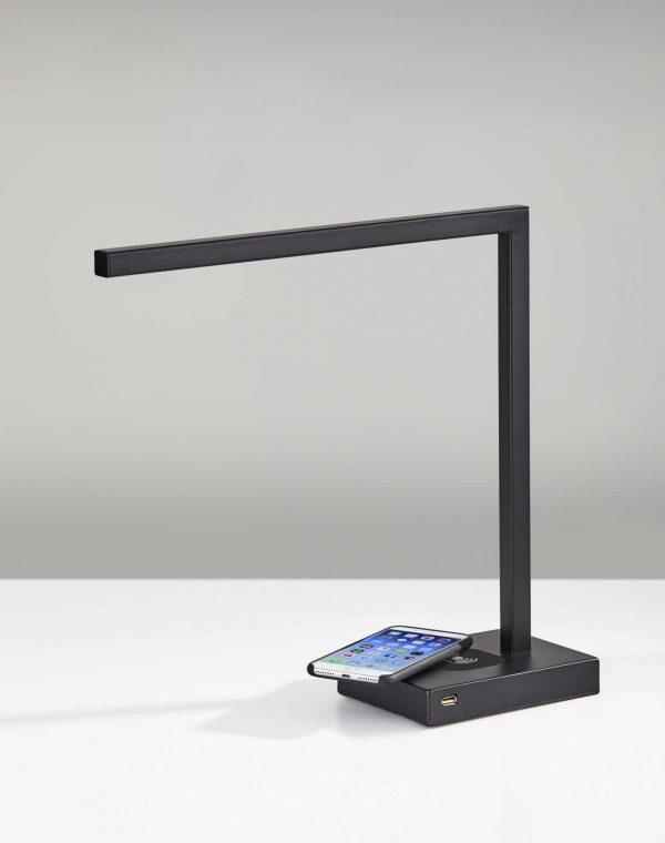 """5"""" X 16.5"""" X 16"""" Black Metal LED Desk"""