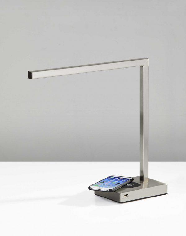 """5"""" X 16.5"""" X 16"""" Brushed Steel Metal LED Desk"""