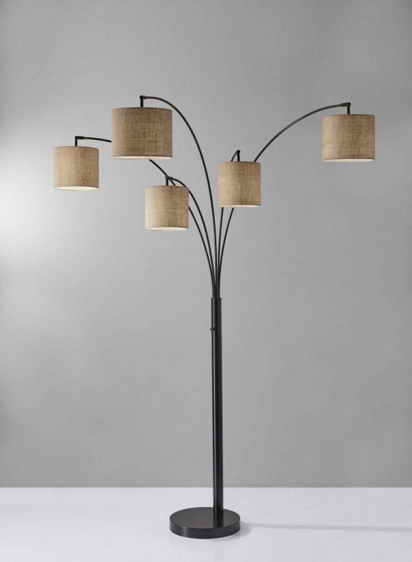 "44""  X 42""  X 82"" Bronze Metal 5-Arm Arc Lamp"