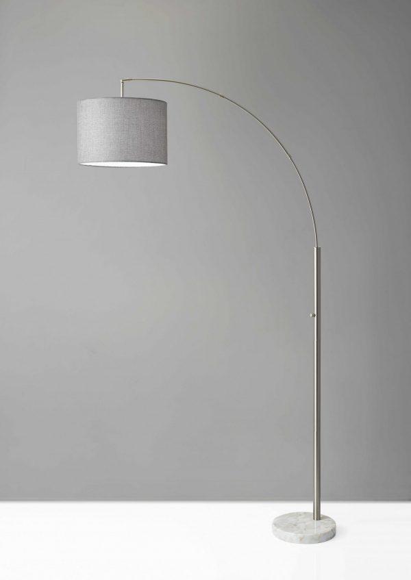 "11"" X 48"" X 73.5""  Brushed Steel Metal Arc Lamp"