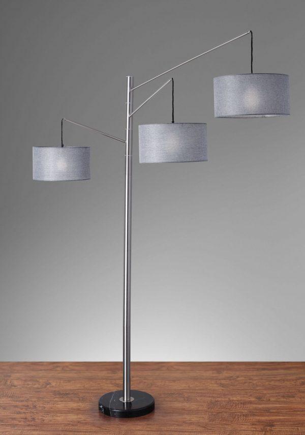 "71"" X 61.75"" X 91"" Brushed Steel Metal Arc Lamp"
