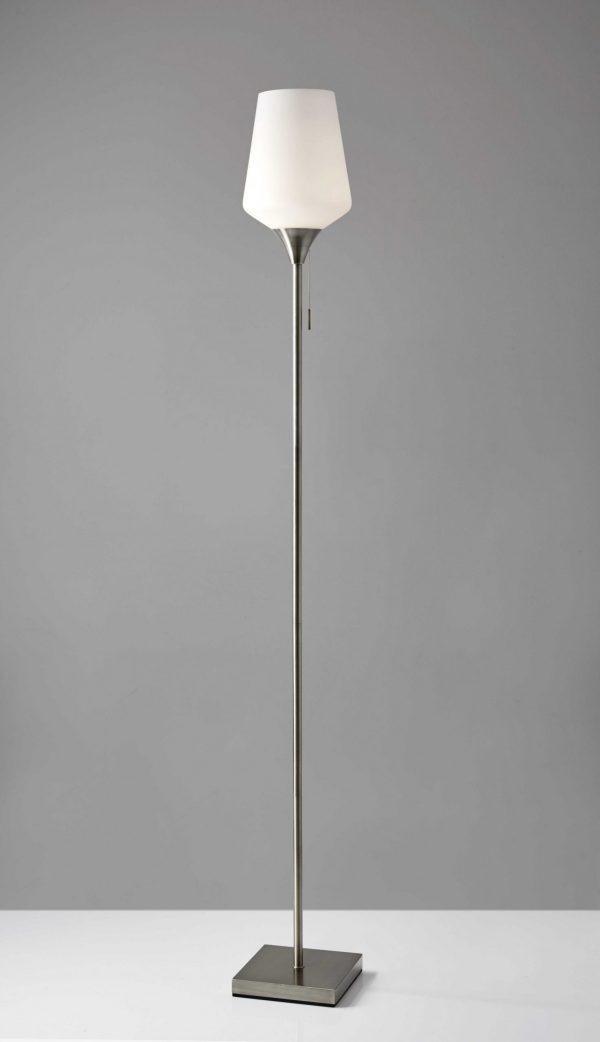 """8.5"""" X 8.5"""" X 71"""" Brushed Steel Glass/Metal Floor Lamp"""