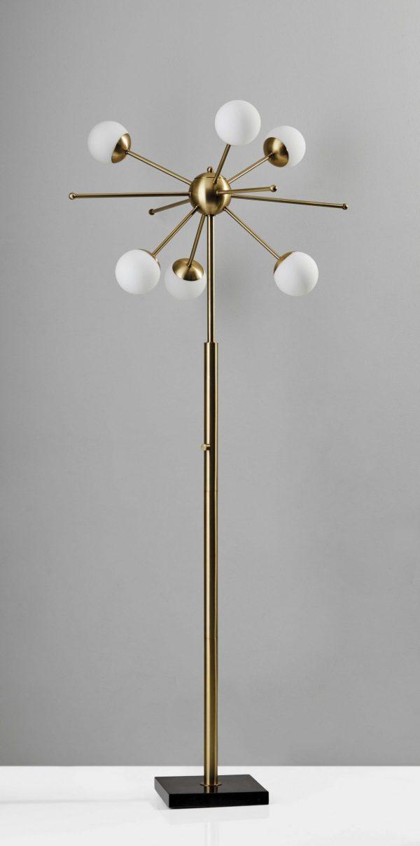 "27"" X 27"" X 63.5"" Brass Metal LED Floor Lamp"
