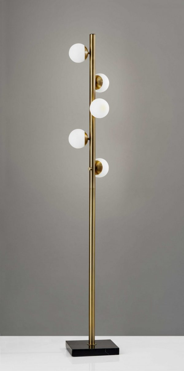 "10"" X 10"" X 65"" Brass Metal LED Tree Lamp"