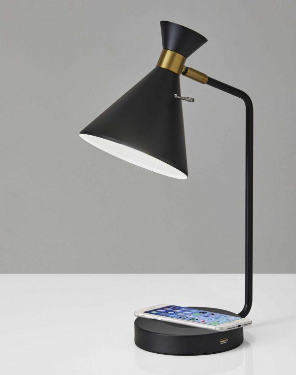 "6.625"" X 12"" X 19"" Black Metal Desk Lamp"