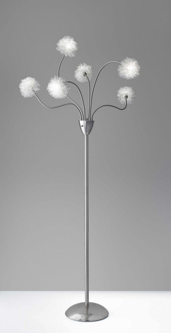 "15.5"" X 15.5"" X 68"" Brushed steel Metal Pom LED Floor Lamp"
