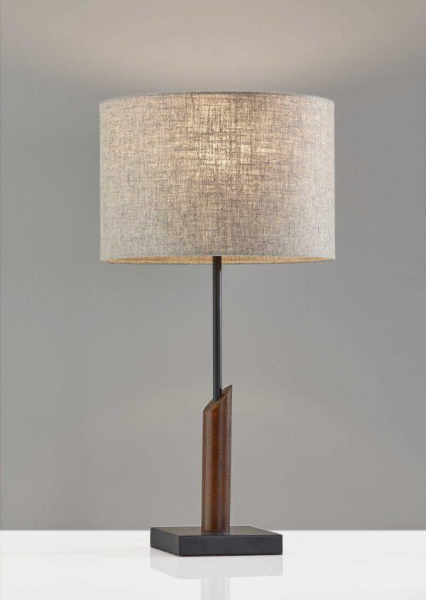 "12"" X 12"" X 22.5"" Black Wood/Metal Table Lamp"