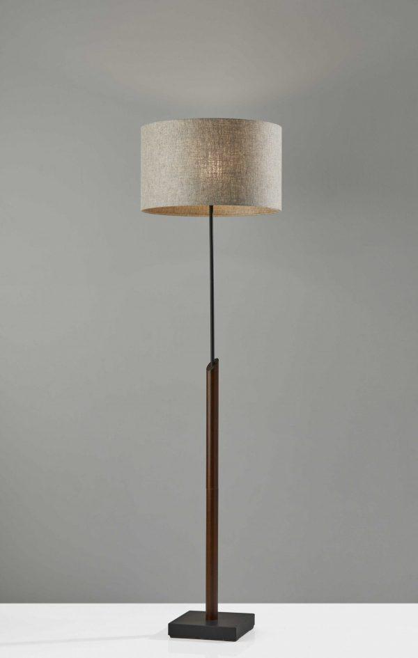 """17"""" X 17"""" X 63"""" Black Wood/Metal Floor Lamp"""