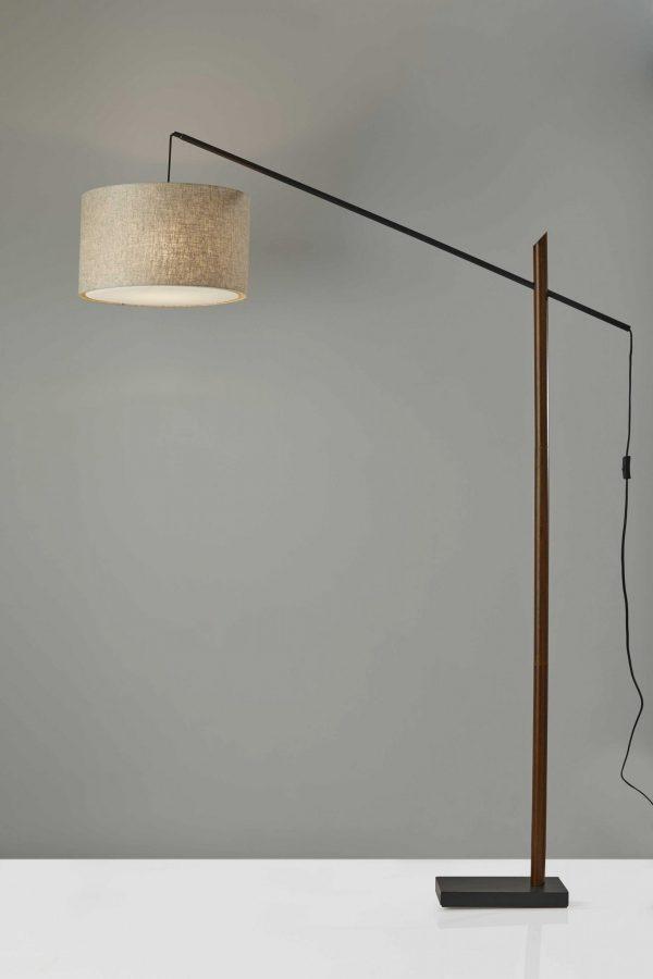 "17"" X 56""  X 76.5""  Black Wood/Metal Arc Lamp"