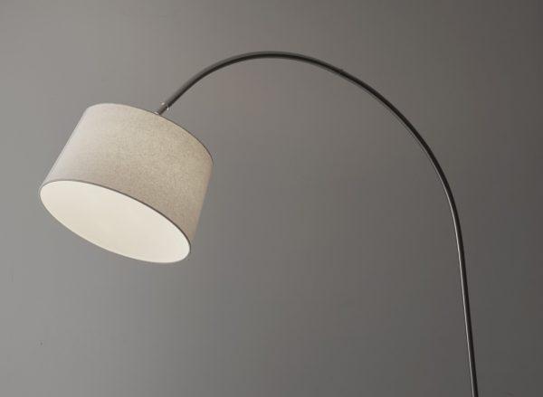 "12.5"" X 53.5- 60"" X 83"" Brushed steel Metal Arc Lamp"