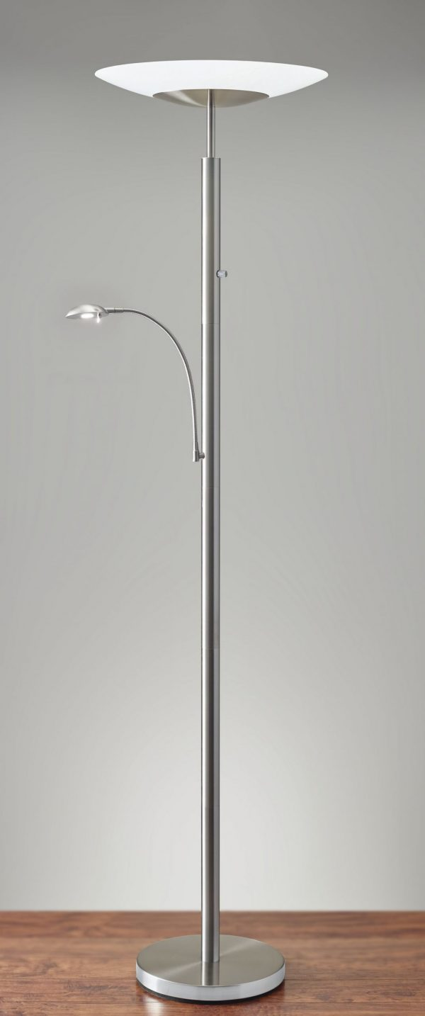 """24"""" X 18"""" X 72"""" Brushed steel Metal LED Combo Torchiere"""