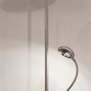"""21.5""""  X 10"""" X 71"""" Brushed steel Metal LED Combo Torchiere"""