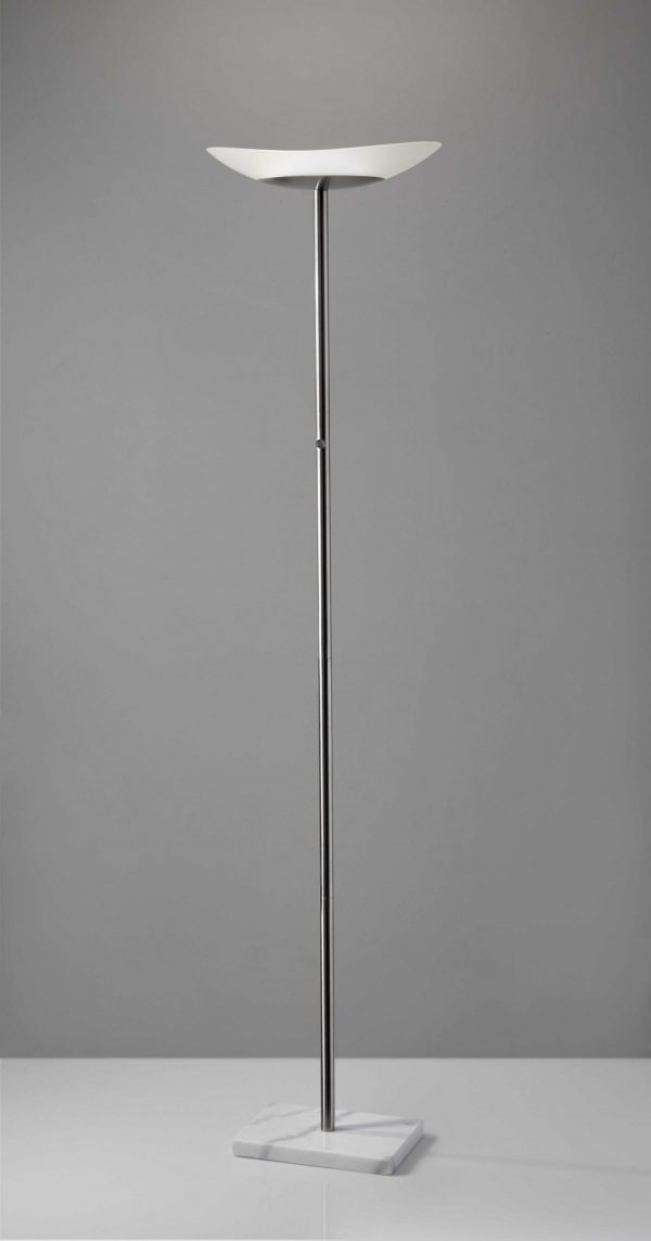 """16"""" X 16"""" X 71"""" Brushed steel Metal LED Torchiere"""