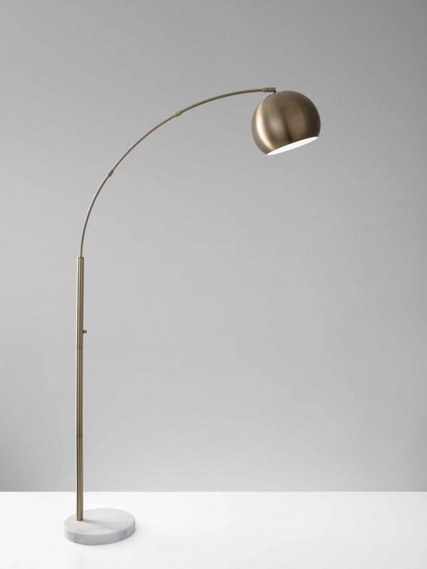 "12.5"" X 42"" X 78"" Brass Metal Arc Lamp"