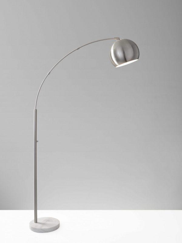 "12.5"" X 42"" X 78"" Brushed steel Metal Arc Lamp"