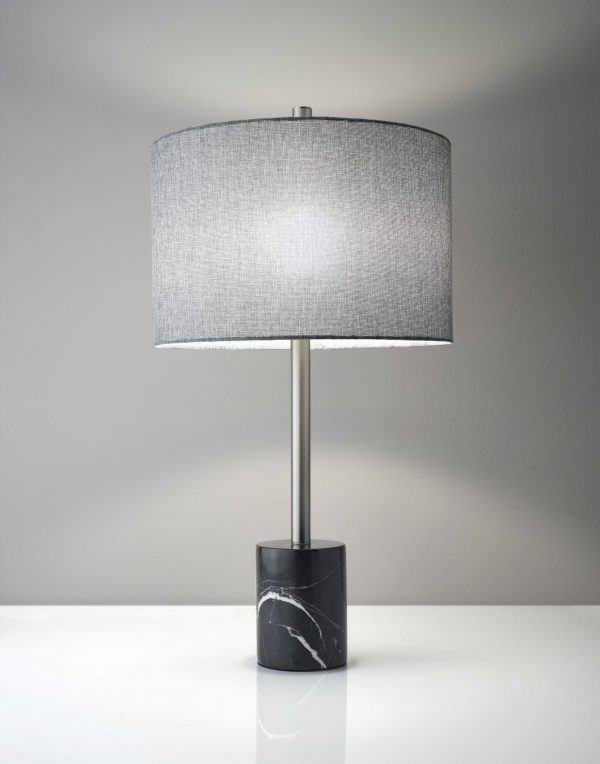 """15"""" X 15"""" X 28"""" Brushed Steel Marble Table Lamp"""