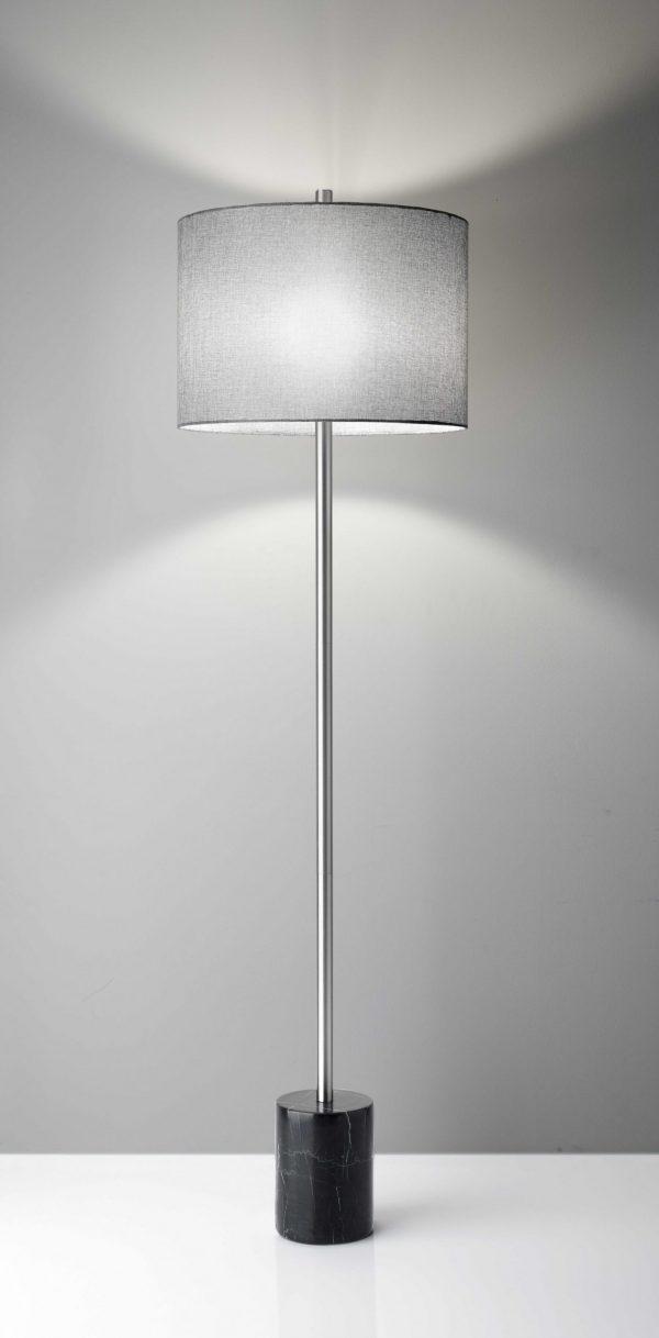 "17"" X 17"" X 62"" Brushed Steel Marble Floor Lamp"