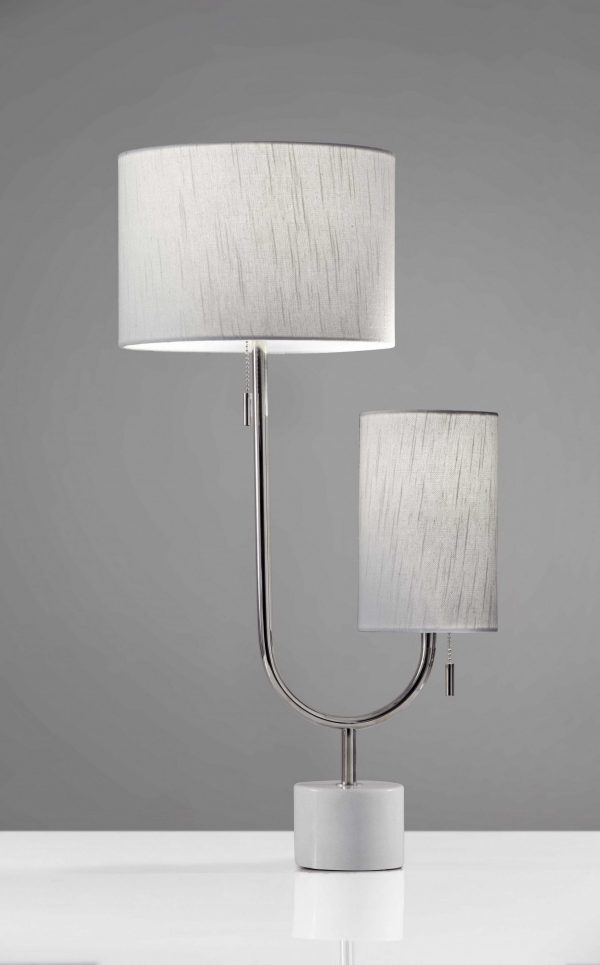 "10"" X 13.5"" X 26"" Chrome Metal Table Lamp"