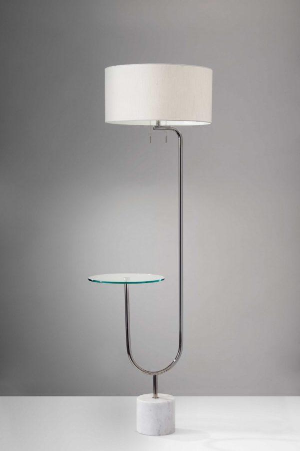 "19"" X 22.5"" X 65"" Chrome Glass/Metal Shelf Floor Lamp"
