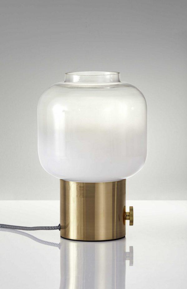 "8"" X 8"" X 12"" Brass Glass Table Lamp"