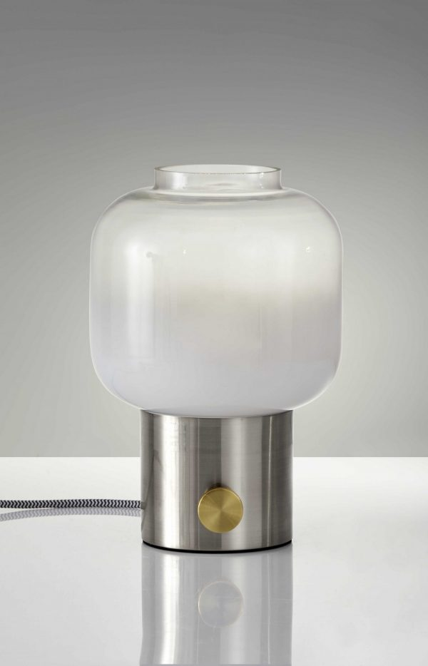 """8"""" X 8"""" X 12"""" Brushed Steel Glass Table Lamp"""