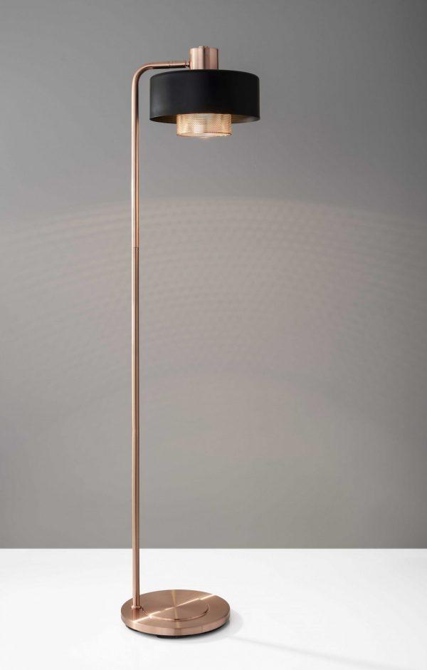 """11.5"""" X 14"""" X 60"""" Copper Metal Floor Lamp"""