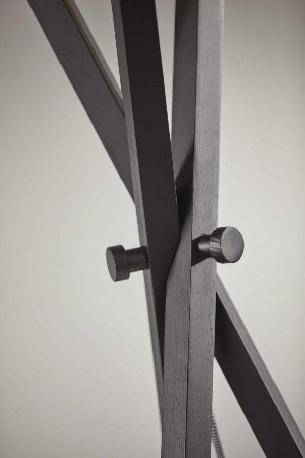 """19.5"""" X 19.5"""" X 62"""" Black Wood/Metal Floor Lamp"""